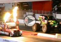 Shockwave jet truck vs. Grave Digger drag race!