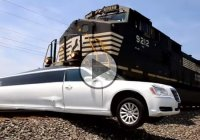Train crashes into a limo that was stuck on the rail track!