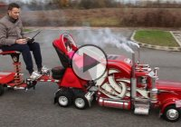 Giant Model Peterbilt 359 RC Used As a Baby Stroller!!