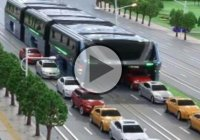 Futuristic Straddling Bus Allows Cars Running Underneath!