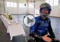 The Tablecloth Chaos – Mythbusters Put The Motorcycle/Tablecloth Trick To The Test!