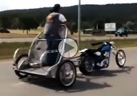 Harley Davidson owner riding his bike like an emperor!