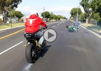 Kawasaki Ninja ZX10R crashes while drifting in traffic!