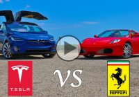 Tesla Model X P90D Ludicrous vs Ferrari F430! SUV vs Sports car!