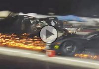 Blown Corvette crashes into Turbo Mustang at the strip!