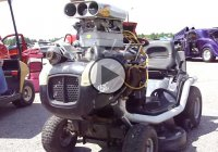Lawn mower powered by a 350 c.i. small block Chevy engine!