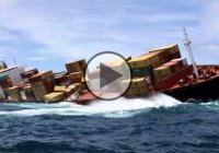 Dramatic Footage Of The Sinking Container Ship RENA!