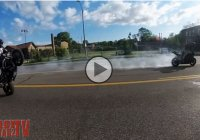 Drifting motorcycle crashes in the heat of the action!