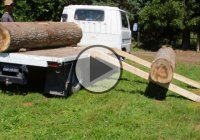 How To Load Heavy Logs On a Truck Using Only a 12v Winch!