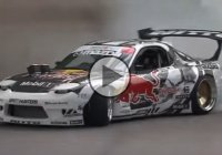 Mad Mike's Red Bull RX7 drifting up the Goodwood Hill Climb!