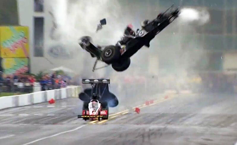 Dragster crashes