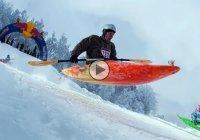 Snow kayaking depicting the art of the extreme, winter sports