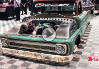 Twin turbo Chevrolet C10 towing a twin turbo boat at the SEMA show!