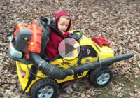 Homemade Engineering – Father Attaches Leaf Blower To Son's Power Wheels!